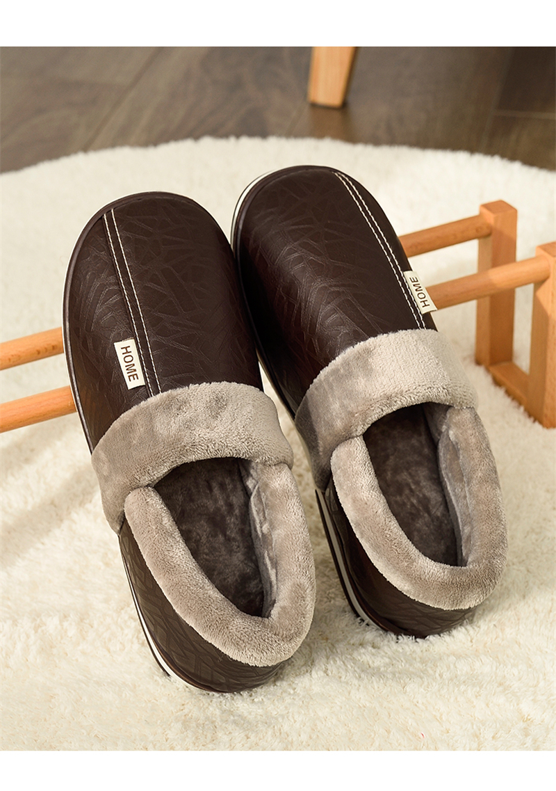 H9603d371256f4243aa25c5ea11f47447R - ASIFN Men's slippers Winter slippers Non slip Indoor Shoes men leather Big size House shoe Waterproof Warm Memory Foam Slipper