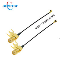 1 pces u. fl ipx ipex1/ipex4 mhf4 fêmea a RP-SMA/sma fêmea 4 pinos ângulo direito pwb trança cabo de extensão antena wifi jumper