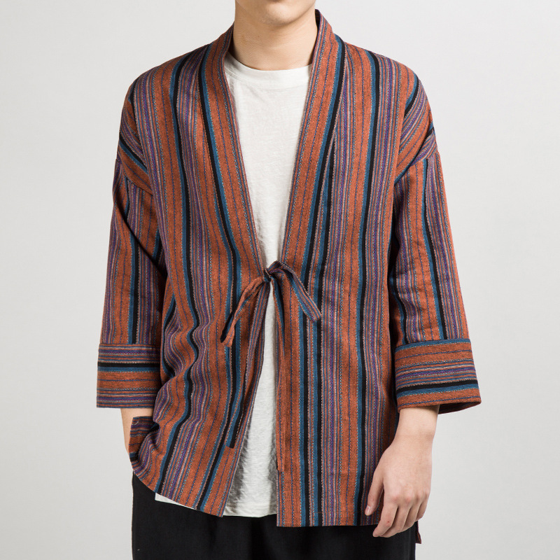 New Mens Japanese Kimono Jacket Baggy Coat Striped Cardigan Outwear Top Vintage