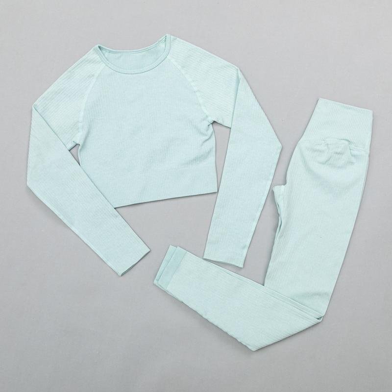 ShirtsPantsBlue - Women's sportswear Seamless Fitness Yoga Suit High Stretchy
