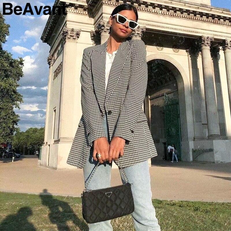 BeAvant Elegant Pink Plaid Women Blazer Long Sleeve Pockets Single Button  Female Casual Coats Office Ladies Outerwear Chic Tops