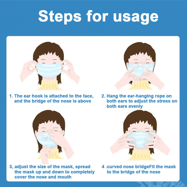 3 Laye Mask dust protection Masks Disposable Face Masks Elastic Ear Loop Flu Face masks Dust Filter Safety Mask 5