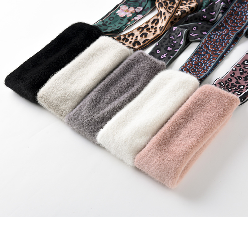 New Style Korean-style Leopord Pattern Scarf Plush Neckerchief Winter Warm Thick Scarf Faux Rabbit Fur Chiffon Collar Scarf