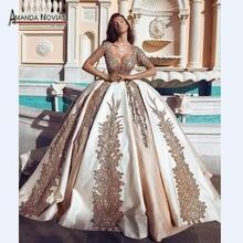 ארוך שרוולים יוקרה שמפניה צבע עם זהב תחרה חתונה שמלה