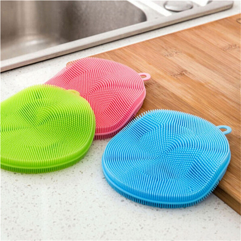 Silicone Bowl Cleaning Brush Multifunction Scouring Pad Wash Fruit Vegetable Cleaning Brushes Antibacterial Washing Tool D40 in Cleaning Brushes from Home Garden