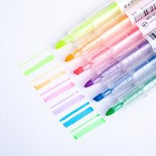 6-color highlighter caneta conjunto para estudantes doces cor manual diário decoração marcador caneta série de cores luz marcador criativo caneta