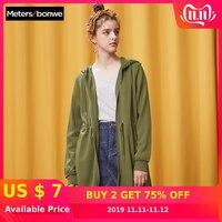 METERSBONWE Autumn Chic Hoodie Coat Female Bf Long Style Trend Hooded Cardigan Coat