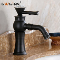 Retro Black Crystal Decorative Basin Faucet 360 Degree Swivel Spout Brass Deck Mounted Hot and Cold Mixer Water Sink Tap SY 342R