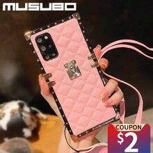 Musubo Funda de cuero cuadrada a cuadros para Samsung Galaxy S20 Ultra S10 Plus S21 S9 Note 20 10 8 9 A71 A50 A51 A70