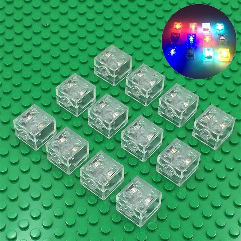 20Pcs/Lot DIY Bricks 2X2 Building Blocks Colorful LED Light-emitting Baby Compatible With Legoes 3003 Bricks Funny Toys For Kids