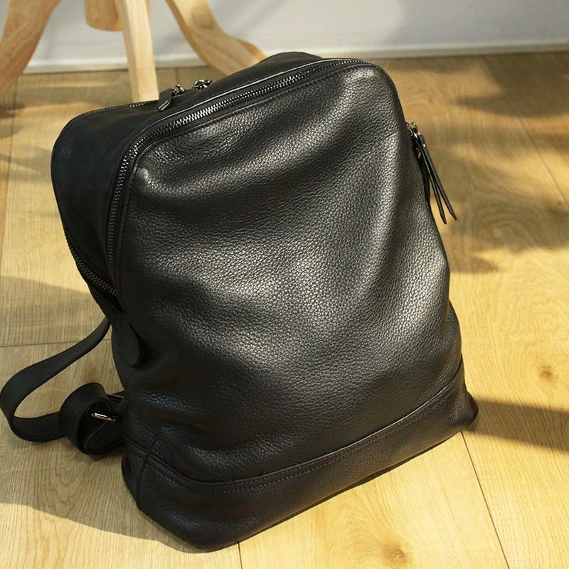 Mochila femmes sac à dos en cuir concepteur véritable cuir de vachette sac d'école dame Double fermeture éclair grande capacité Bookbag Simple sac à dos - 1