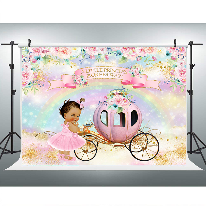 YongFoto 10x9ft Princess Pumpkin Car Backdrop Birthday Party Photography Background Crown Girls Unicorn Pink Wall Rainbow Baby Shower Banner Interior Decor Newborn Kids Portraits Studio Props