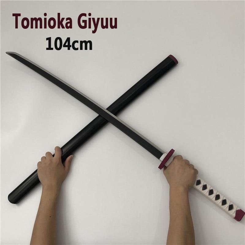 104 см киметасу no Yaiba меч оружие убийца демонов томиока гиюу косплей меч 1:1 аниме ниндзя нож ПУ игрушка серый