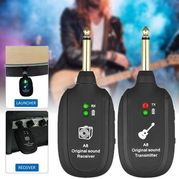 UHF Guitar Wireless System Transmitter Receiver Built-in Rechargeable Built- in Rechargeable wireless guitar transmitter new wireless in ear monitor professional stage monitoring system 3 bodypack receiver cordless 1 usb transmitter monitors in earphone