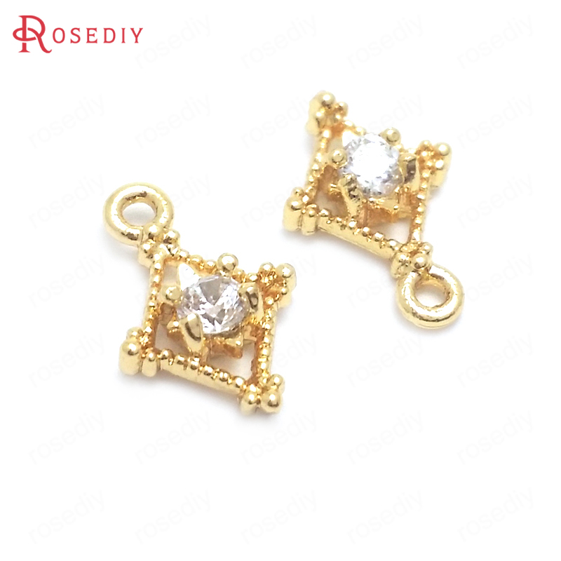 (37689)10PCS 6.5x9.5MM 24K Gold Color Brass and Zircon Rhombus Charms Pendants Jewelry Making Supplies Diy Findings Accessories