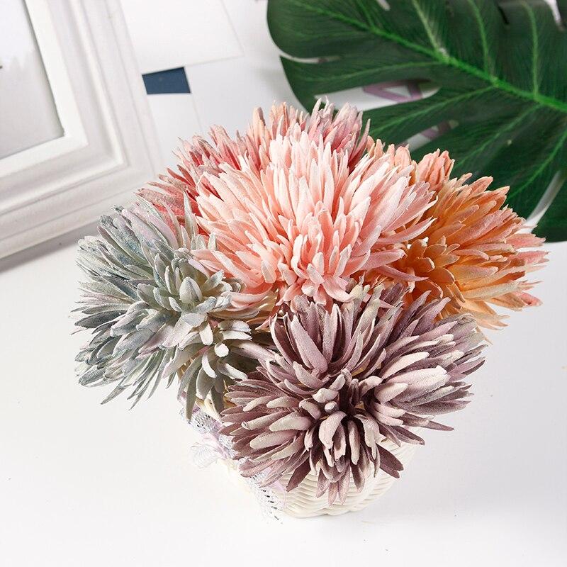 6 шт./лот искусственный букет из крабов и хризантем для украшения дома, свадьбы, скрапбукинга, гирлянды, искусственные растения