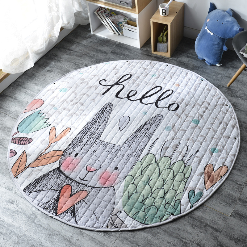 H960488bfcc3e4f72b4aee8035f00c94c3 Kid Soft Carpet Rugs Cartoon Animals Fox Baby Play Mats Child Crawling Blanket Carpet Toys Storage Bag Kids Room Decoration