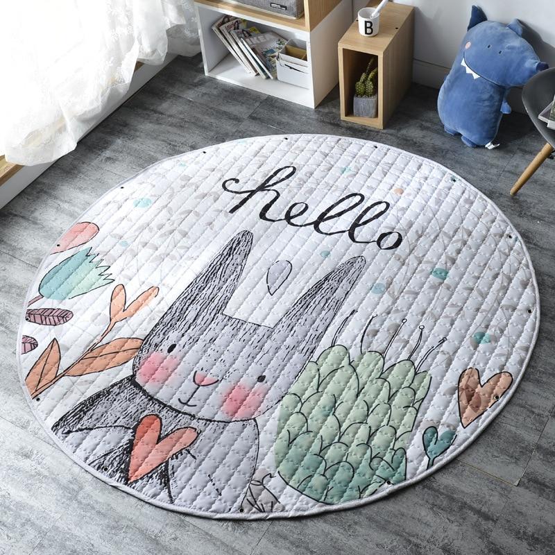 H960488bfcc3e4f72b4aee8035f00c94c3 Kid Soft Carpet Rugs Cartoon Animals Fox Baby Play Mats Child Crawling Blanket Carpet Toys Storage Bag Kids Room Decoration