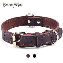 Benepaw Quality Genuine Leather Dog Collar Durable Vintage Heavy-duty Rustproof Double D-Ring Pet Collar For Medium Large Dogs