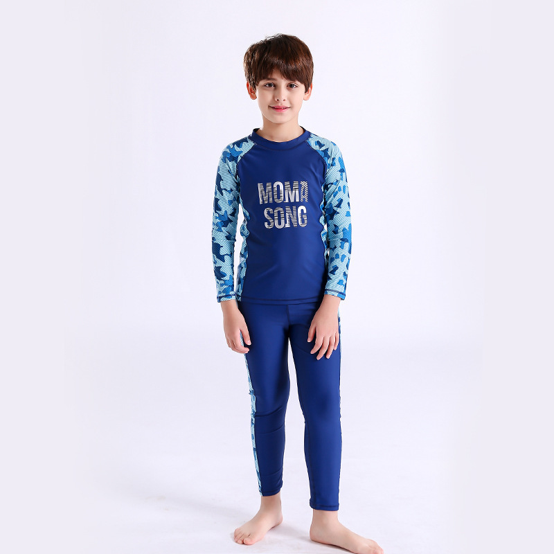 Children Two-piece Swimsuits Students Swimming Training Big Boy Swimwear BOY'S Long Sleeve Trousers Quick-Dry Diving Tour Bathin
