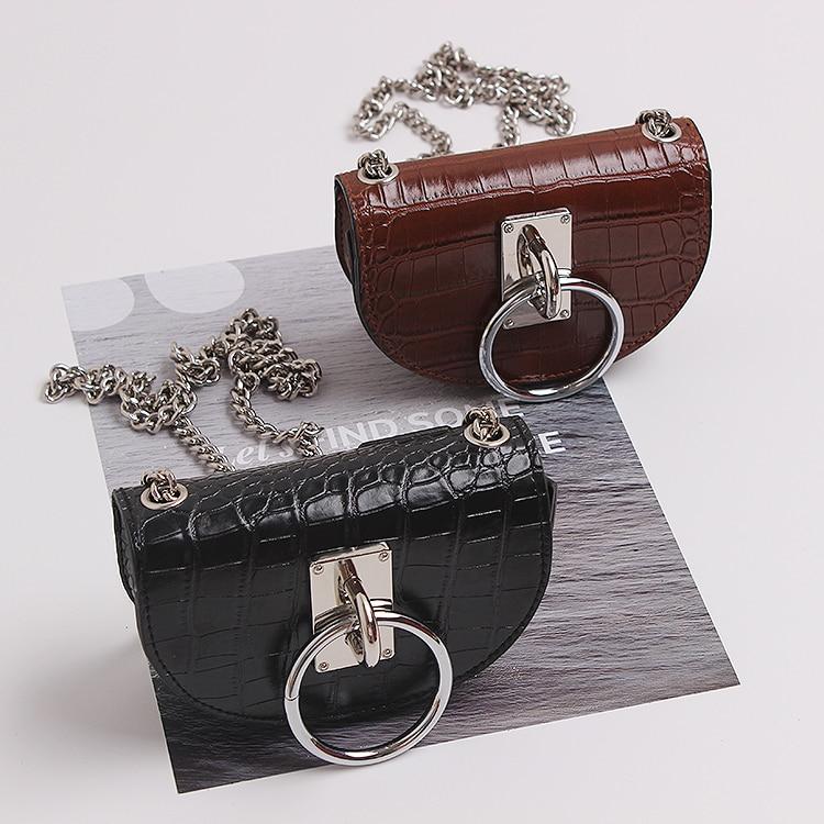2019 Women PU Wasit Belt Packs Simicircle Faux Leather Alligator Pattern Purse Bag Ring Hasp Wide Chain Crossbody Shoulder Bag