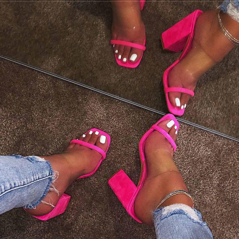2020 yeni kadın şeffaf sandalet bayanlar yüksek topuk terlik şeker renk açık ayak kalın topuk moda kadın slaytlar yaz ayakkabı