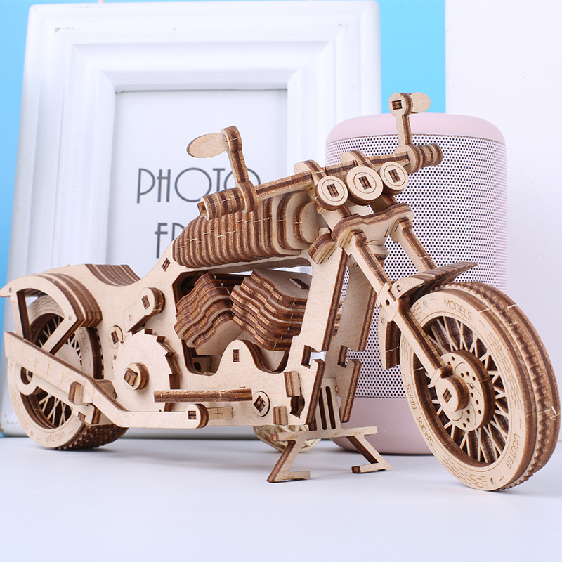 Building Block Wooden Mechanical Model Creative 3D Three-Dimensional Jigsaw Puzzle DIY Handmade Fight Inserted Motorcycle