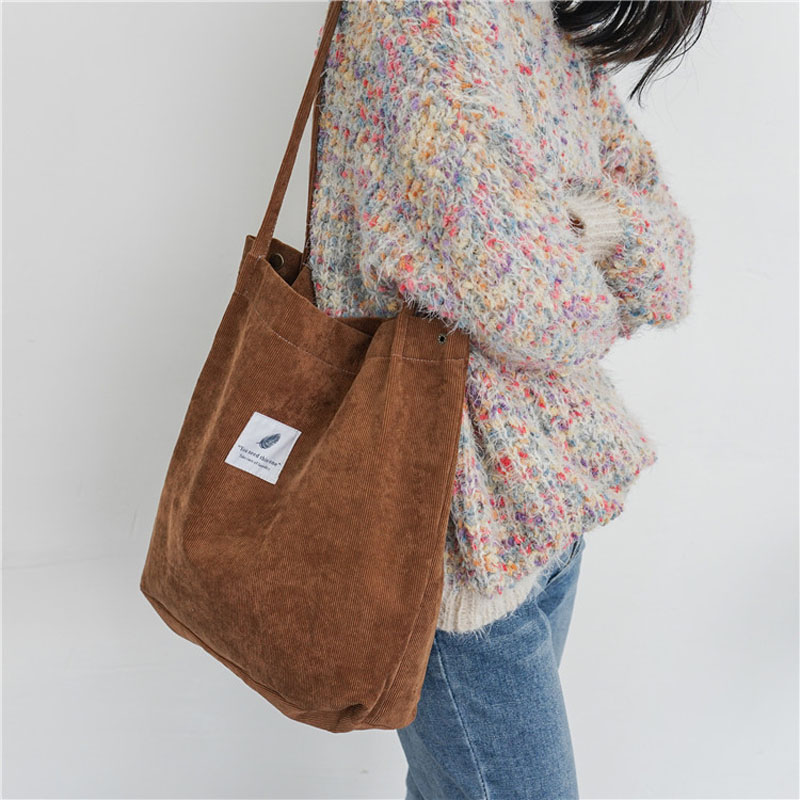 PGOLEGGY Fashion Women Corduroy Canvas Shoulder Bags Female Cloth Handbag Tote Grocery Reusable Foldable Eco Shopping Bag