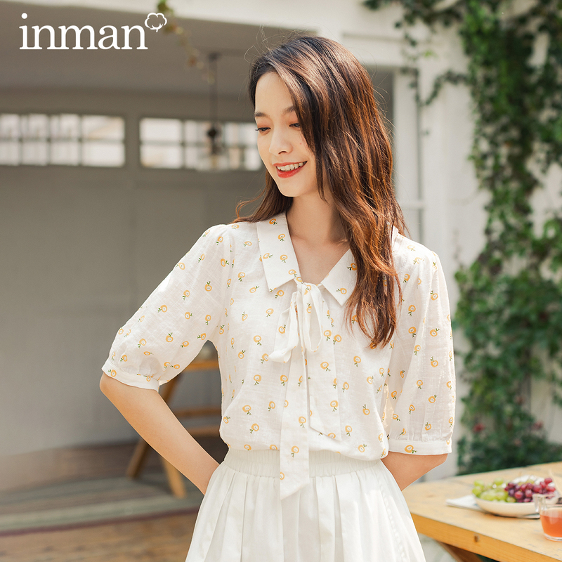 INMAN 2020 Summer New Arrival Sweet Style Half Sleeve Butterfly Bow Tie Collar Soft Material Top Blouses