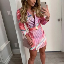 Fashion suit women blazer dress Sexy Winter V-Neck Sashes Stripe Three Quarter S