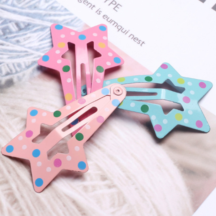 1PC Dot Star รูปร่างโลหะเด็ก Snap คลิปผม Barrettes สาวผมน่ารัก Pins อุปกรณ์เสริมผมเด็ก Candy สี star Hairpins