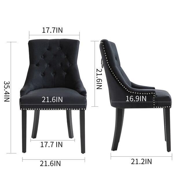 Sigtua 2PCS Upholstered Velvet Dining Chairs Set 2
