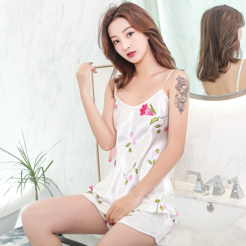 Summer Camisole Sexy Pajamas Women's Thin Solid Color V-neck Homewear Set