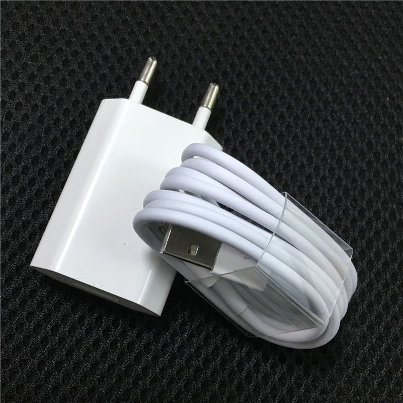 Original EU Plug Travel <font><b>USB</b></font> Wall Charger for iPhone 7 Plus X XS MAX 8 SE XR <font><b>5</b></font> 5s <font><b>6</b></font> 6s Plus iPad + 8 pin Data Sync <font><b>USB</b></font> Cable Wire image