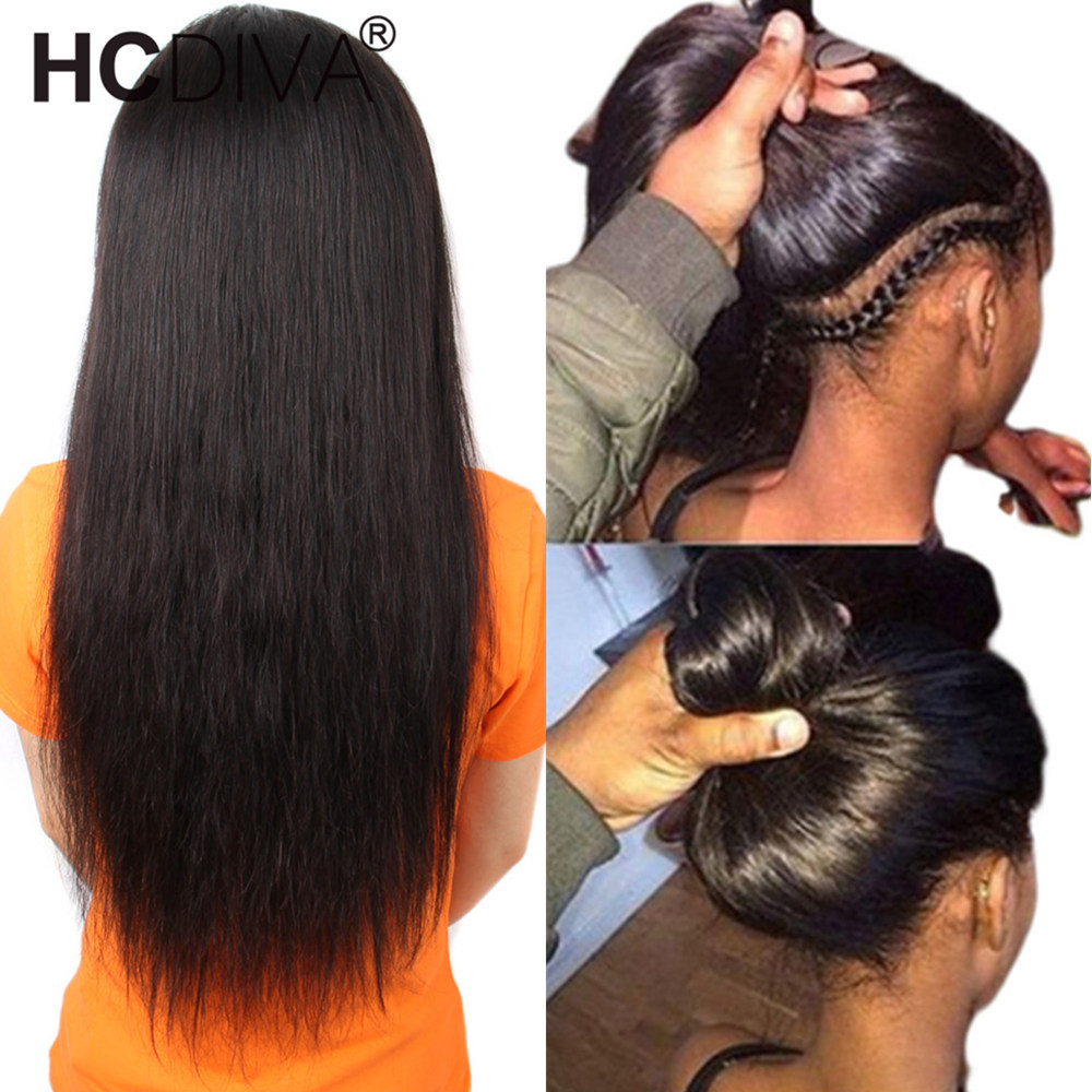360 Lace Frontal Wig Pre Plucked With Baby Hair Brazilian Straight Lace Frontal Human Hair Wig Remy Lace Wig For Black Women image