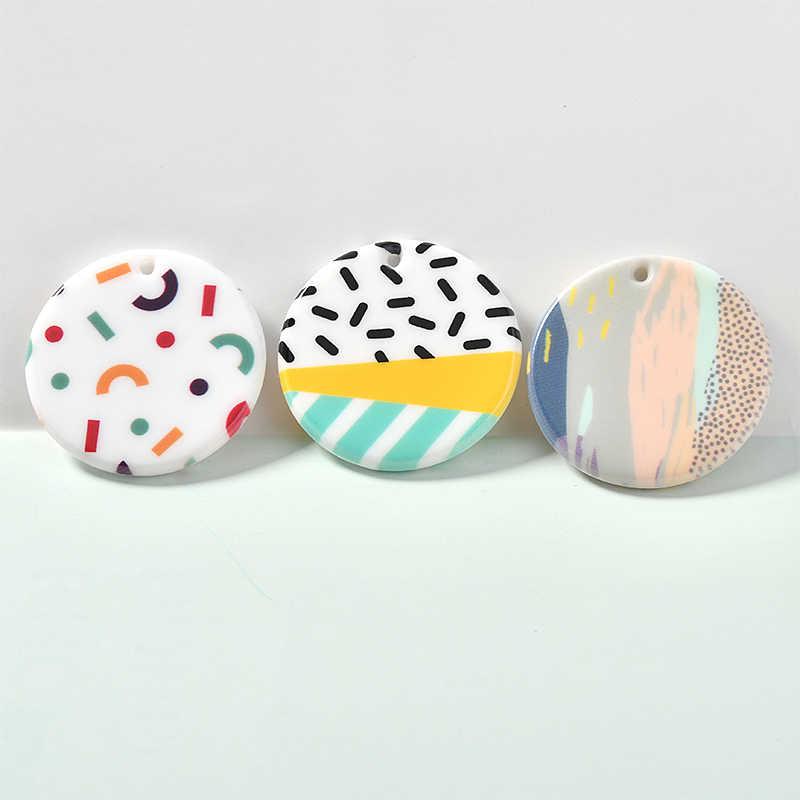 Ins Hình Học In Colouring Mẫu Giáo Acrylic Tròn Treo Bông Tai Tự Làm Handmade Chất Liệu