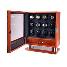 12 slotów wysokiej klasy silnika zegarek Shaker pokrętło zegarka pojemnik do przechowywania wyświetlacz mężczyźni poduszka na drewniany zegarek pokrętło zegarka box 200910-21 tanie tanio CN (pochodzenie) 0inch Nowy bez tagów