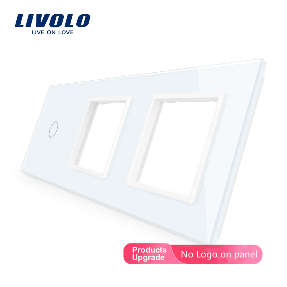 Livolo DIY Luxury Pearl Crystal Glass,EU Standard,Triple Glass Panel,4 Colors,glass Panel ,diy ,mark Color You Want,no Logo