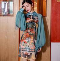 2019 new fashion women's Printed Lantern Sleeve Slim Midi Dress