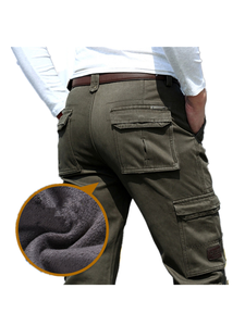 Man Trousers Cargo-Pants Military Fleece Warm Army Green Winter Men Casual Loose Multi-Pocket