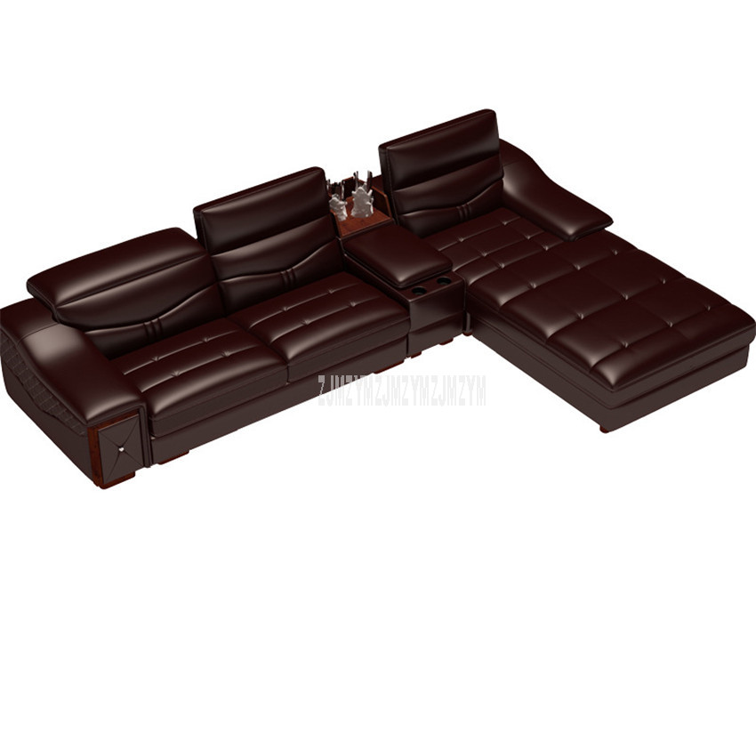 3 Seat Living Room Sofa Furniture Modern Fashion High Quality Leather Solid Wood Frame Sponge Filler Sofa L Shape Home Furniture