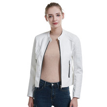 New Women Autumn White Zipper Faux Leather Jacket Motorcycle O-neck Pu Streetwear Coat Female Fashion Black Slim Tops(China)