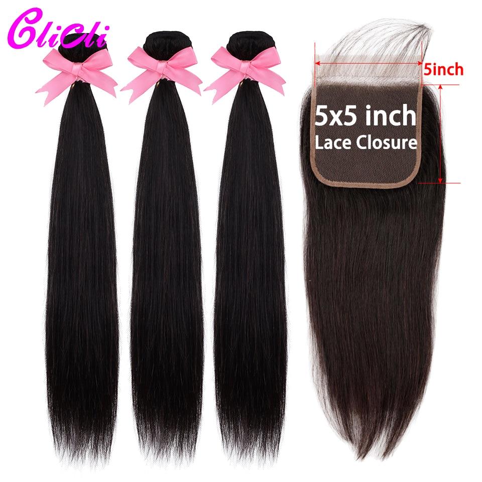 Malaysian Human Hair 3 Bundles With 5x5 Lace Closure Straight Hair Weave Bundles With Closure For Women Natural Nonremy Clicli