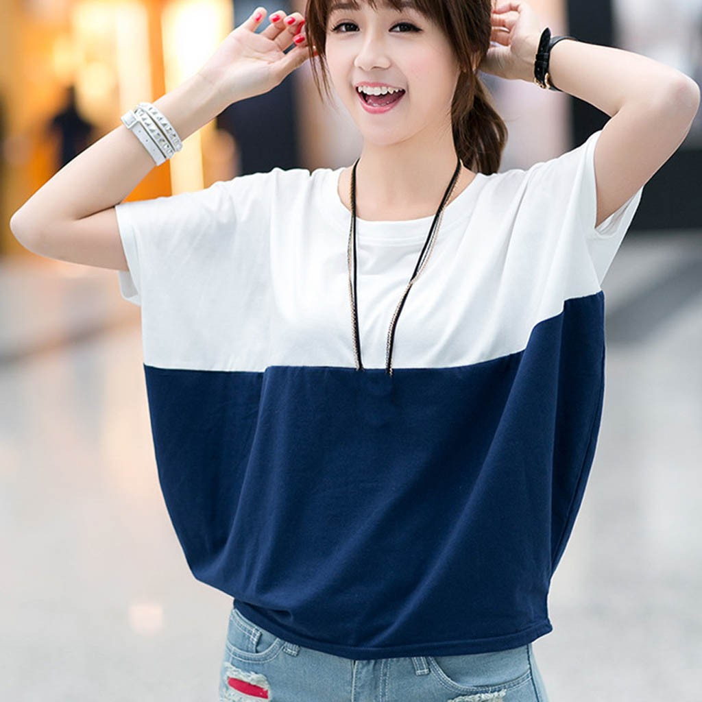 Fashion Patchwork Tunic Tops For Women Summer O-neck Short Sleeve Shirts Loose Blouses Casual Women Clothing Блузка Женская 2021 1