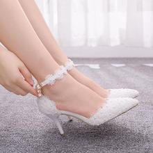 Crystal Queen Large Size Womens Shoes White Lace High Heels Banquet Wedding Shoes Bridal Shoes Pointed Sweet Wild Single Shoes