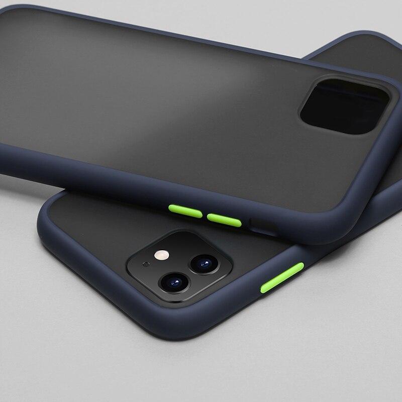 N1986N чехол для телефона для iPhone 11 Pro X XR XS Max 7 8 Plus роскошный контрастный цвет рамка Матовый Жесткий PC защитный чехол для iPhone 11 чехол - Цвет: Navy