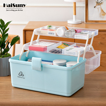 цена на Portable Household First Aid Kit 3 Layer Classification Outdoor Camping Medical Box Plastic First Aid Medical Supplies Container