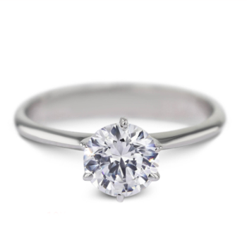 AEAW moissanite ring 0.8ct 6mm in 10K white gold and silver can chose image