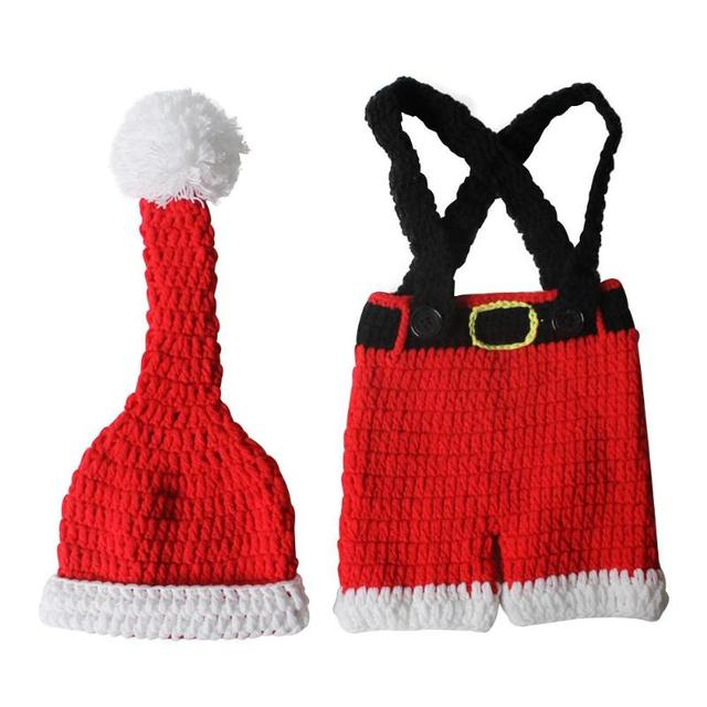Newborn Infant Christmas Theme Photography Props Clothing Suspender Trousers+Hat European Children's Photographic Costumes 5