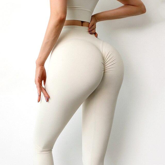 Women Leggings Yoga Pants Tights Seamless Solid Color High Waist High Elastic Women's Sports Pants 5